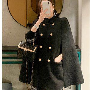 Metal Buttons Loose Woolen cloth Cape Coat
